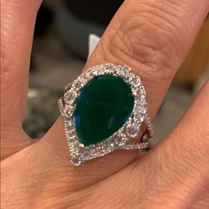 Jewelry - Green 4ct Pear Sterling Silver Engagement Ring